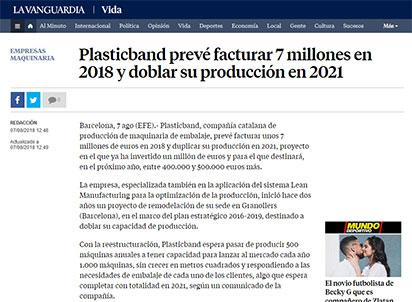 Plasticband prevé facturar 7 millones en 2018 y doblar su producción en 2021