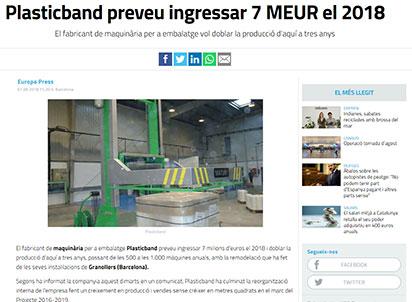 Plasticband preveu ingressar 7 MEUR el 2018
