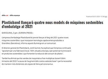 Plasticband llançarà quatre nous models de màquines sostenibles d'embalatge al 2021